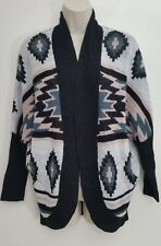 Charlotte Russe Womens Cardigan Small Pink Aztec Open Front Slouchy Shrug