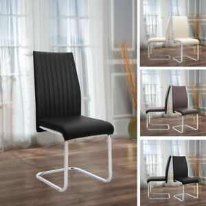 2pcs Kitchen Dining Room Chairs Dinning Chair PU Leather Padded Seat Metal Leg