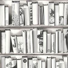 NEW MURIVA BOOK SHELF CASE PATTERN LIBRARY VINTAGE MOTIF WHITE WALLPAPER E82209