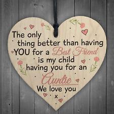Best Friend Auntie Heart Gift Shabby Chic Birthday Love Keepsake Thank You Sign