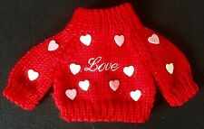 Doll Clothes Build Bear knit sweater Love Red White Hearts (NON OFF BRAND)