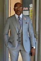 Men Gray Suits Designer Wedding Grooms Dinner Casual Suit (Jacket+Vest+Pants)