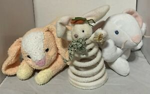 Lot of 3 TLC Plush Bunny Rabbit Toys 2 Ty & 1 Spring Easter Decoration