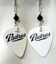 MLB San Diego Padres Guitar Pick Earrings with Dark Indigo Swarovski Crystals