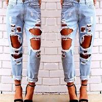 femmes destroy délavé déchiré trou Jeans décontracté long pantalon