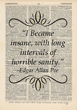 I Became Insane Quote Dictionary Art Print Book Edgar Allan Poe