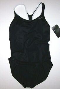 Nike Powerback Tank Swimsuit Racer Back Cut Out New Black White NESS9360 Women