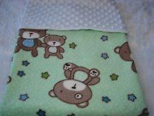 Teddies On Green Fleece White Minky Reversible Handmade Blanket