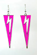 UNQIUE LADIES SILVER BOLD PINK  LIGHTNING/ FLASH! EARRING NEW (ZX10)