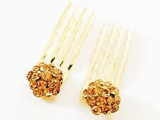 USA Mini Hair Comb Small Swarovski ELM Crystal Bridal Wedding Gold Amber Yellow
