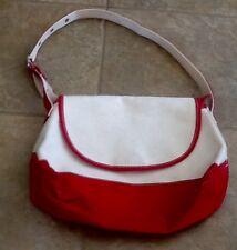 LL Bean Red & White Canvas Unisex Messenger/Shoulder Bag