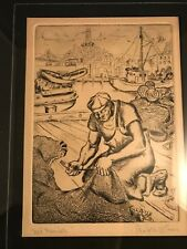 """Listed San Francisco CA Artist Rexford Donald Holmes 1946 Etching """"Net Mender"""""""