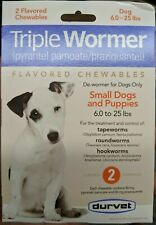 New listing Durvet Triple Wormer For Small Dogs 6-25 lbs - 2 Tablets - Exp: 11/2022