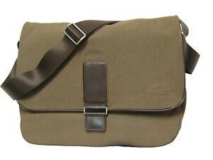 New Authentic Vintage LACOSTE MESSENGER BAG Uptown 4 Leather Trim Khaki