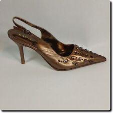 Kathy Van Zeeland Bronze Leather  Decorated Pointed Toe Sling Back Heels 7.5