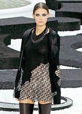 $2820 New Chanel Knit Pullover Mini Dress Top Tunic  Black White 40