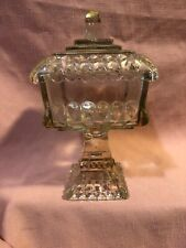 Covered Clear Glass Pedestal CANDY DISH with Lid and Gold trim