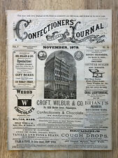 11/1879 Confectioners Journal Trade Mag Thomas Mills Soda Fountain Candy Toys +