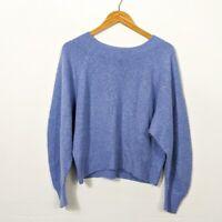 Vince Women's Blue Raglan Sleeve Cashmere Wool Blend Sweater NWT Small