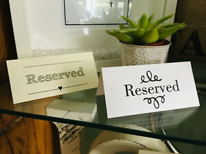 Wedding Event Reserved cards free standing 6 designs to choose from