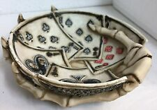 Dead Man's Poker Hand Ashtray Dish Bowl Skull Figurine Statue
