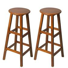 2 Pcs Wooden Shabby Chic Seat Bar Stool Dining Chair Indoor Kitchen Outdoor Home
