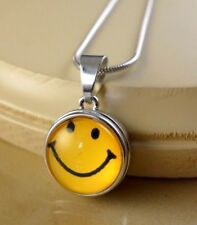 SMILEY FACE Basic SNAP BUTTON CHARM PENDANT W/ Steel Necklace gifts for girls