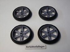 "KNEX WHEELS LOT: 4 Motorcycle Slick 2.25"" Tires w/2"" Gray 6 Spoke Hubs/Rim Parts"