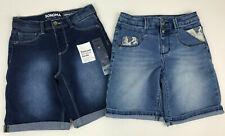 2 New SONOMA Jean DENIM Bermuda Shorts BLUE Lace SNAPS Nwt Girl's Youth Sz 8
