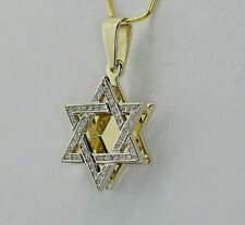 14k Yellow Gold White Diamond Star of David Pendant