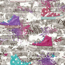 Graffiti Style Wallpaper 3D Brick Wall Urban Street Sneakers Converse Style