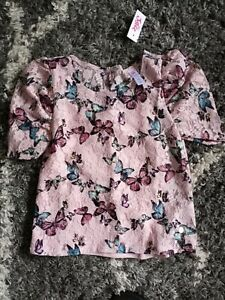 Girls justice puffer sleeves layered lace top size 10 new pink butterfly