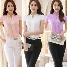 Lady Women's Formal Cotton Shirt Office Uniform OL Work V Neck Blouse Wear Tops