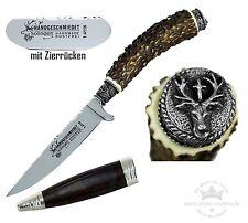 Trachtenmesser Hirschhorngriff + Kappe Hirschkopf mit Hubertuskreuz Stahl 1.4116