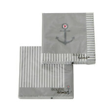 2 PACK Servietten ANKER weiss grau Herz rot Streifen maritim Deko Ankerliebe