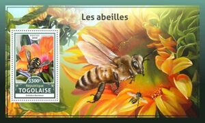 Togo 2016 MNH Bees 1v S/S Abeilles Bee Flowers Insects Stamps