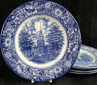 Staffordshire LIBERTY BLUE 4 Dinner Plates GREAT CONDITION