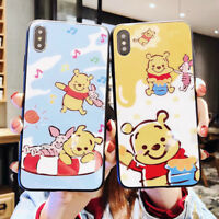Cartoon Pooh Ultra-thin Glass Phone Case Cover For iPhone X XS Max XR 6 7 8 Plus