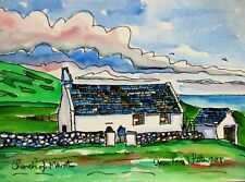 ORIGINAL WATERCOLOUR PAINTING OF MWNT BEACH CHURCH WALES LANDSCAPE