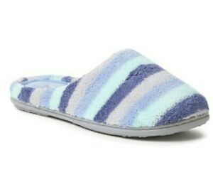 Dearfoams Women Slippers Blue Microfiber Terry Slip-On Indoor Size M(7-8) New