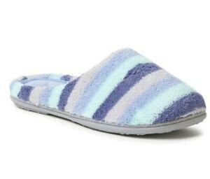 Dearfoams Women Slippers Blue Microfiber Terry Slip-On Indoor Size XL(11-12) New