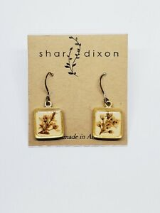 Shar Dixon Pressed Flower Handmade Dangle Earrings 925 Sterling Silver Hooks