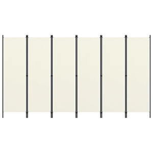 6-Panel Room Divider Cream White 300cm Wall Partition Screen Separator