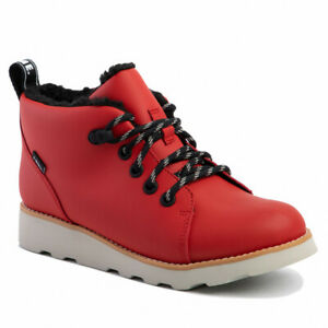 BNIB Clarks Boys CROWN TOR Red Leather Waterproof Warm Lined Boots