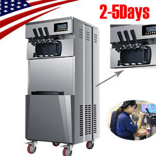 Professional 20L/H Stand Commercial 3 Flavors Ice Cream Machine Steel Automatic