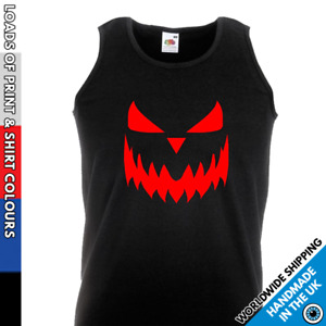 Mens Halloween Pumpkin Face Vest - New Scary Trick Or Treat Costume Gym Top Gift