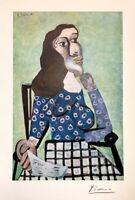 hand signed Picasso 71 yr print from a vintage 1949 portfolio; Chagall, Dali era
