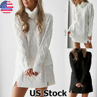 Women Winter Turtleneck Knitted Jumper Dress Ladies Casual Long Sweater Pullover