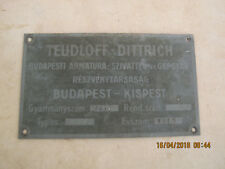 vintage old Fire Truck Emblem plaque  in metal,TEUDLOFF-KISPEST,year 1919