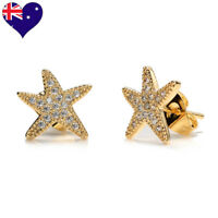 Star Yellow Gold Plated White Round Pave Set Cubic Zirconia Stud Earrings-Gift